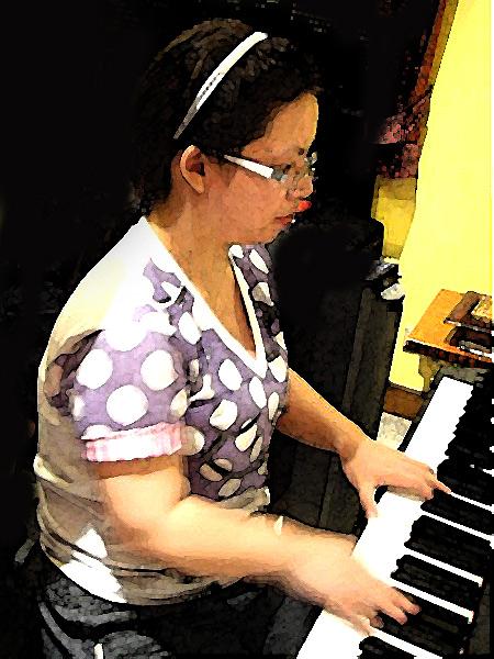 """ภาพ """"ครูฟ้า"""" จาก Piano-Lovers นำมาทำเป็นภาพสีน้ำ"""